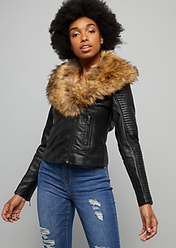 Black Moto Faux Fur Collar Biker Jacket