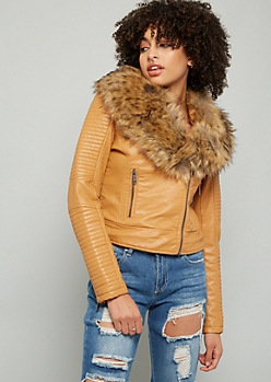 Tan Moto Faux Fur Collar Biker Jacket