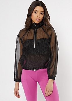 Black Organza Half Zip Windbreaker