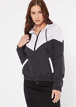 Black Colorblock Mesh Zip Up Windbreaker
