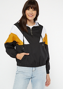 Mustard Chevron Colorblock Hooded Windbreaker