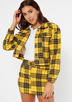 Mustard Plaid Print Button Down Jacket