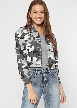 Gray Camo Print Cropped Jacket