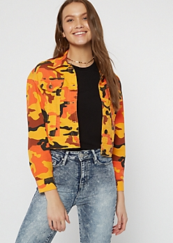 Orange Camo Print Cropped Jacket