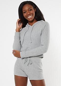Heather Gray Boxy Super Soft Hacci Hoodie