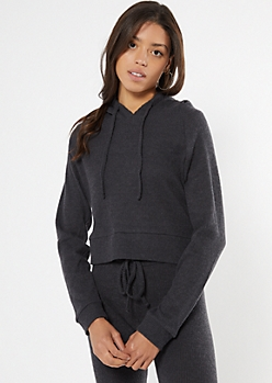 Charcoal Gray Boxy Super Soft Hacci Hoodie
