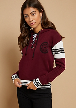 Burgundy Under Control Lace Up Fleece Lined Hoodie