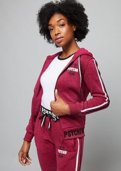 Pink Cute But Psycho Side Stripe Sweater Knit Hoodie