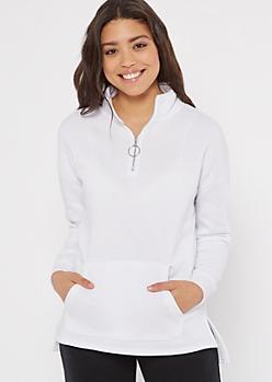White High Low Half Zip Fleece Pullover