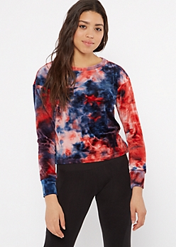 Red Tie Dye Velour Pullover