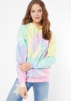 Pastel Rainbow Spiral Tie Dye Pullover Hoodie