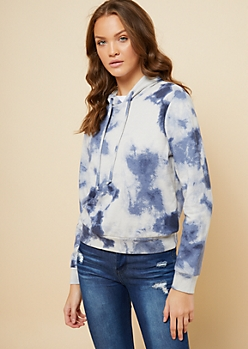 Blue Spiral Cloud Wash Tie Dye Oversized Hoodie