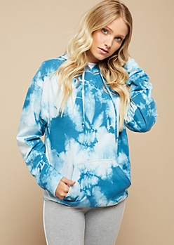 Blue Watercolor Tie Dye Oversized Hoodie