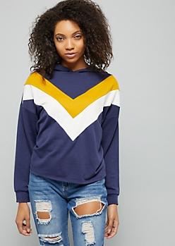 Navy Chevron Striped Boxy Pullover Hoodie