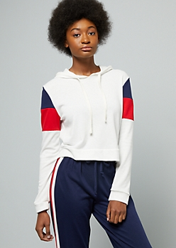 White Colorblock Sleeve Cropped Hoodie