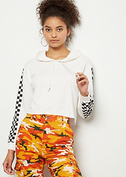 White Checkered Print Side Striped Cropped Hoodie