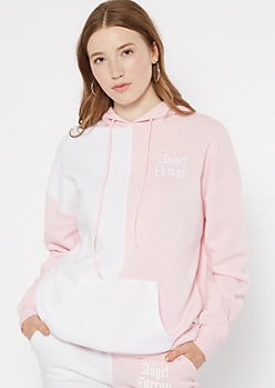 Pink Two Tone Angel Energy Embroidered Hoodie