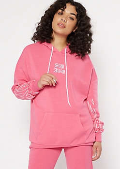 Neon Pink Stay Away Flame Embroidered Hoodie