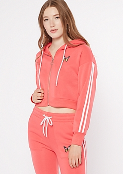 Coral Varsity Stripe Butterfly Embroidered Zip Up Hoodie