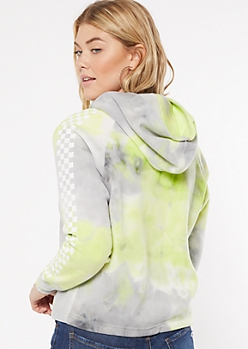 Green Tie Dye Checkered Print Side Striped Graphic Hoodie