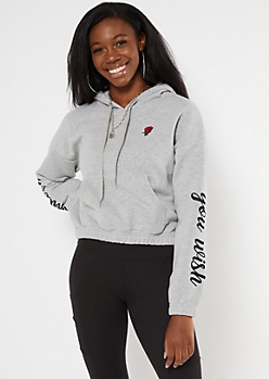 Gray You Wish Rose Cropped Embroidered Hoodie