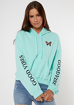 Good Vibes Butterfly Embroidered Active Hoodie