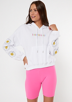Did I Ask Daisy Embroidered Active Hoodie