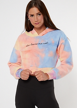 Tie Dye Loves Me Cropped Active Hoodie