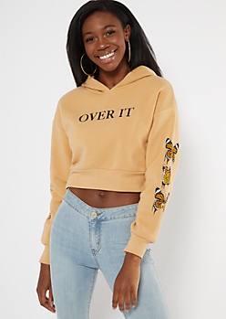 Tan Over It Butterfly Print Cropped Hoodie