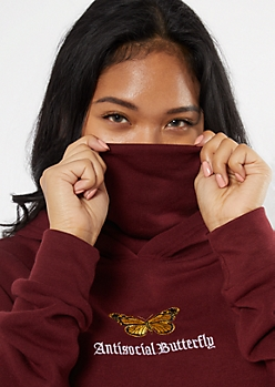 Burgundy Antisocial Butterfly Embroidered Mask Hoodie