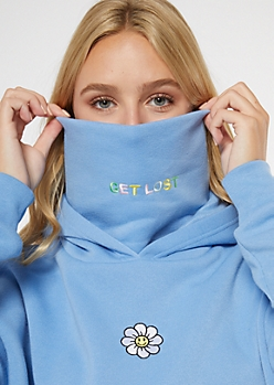 Blue Get Lost Embroidered Mask Hoodie