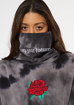 Black Tie Dye Rose Distance Embroidered Mask Hoodie