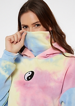 Tie Dye Yin Yang Embroidered Mask Hoodie