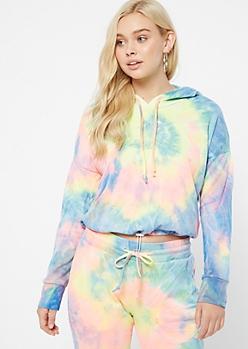 Rainbow Tie Dye Drawstring Waist Hoodie