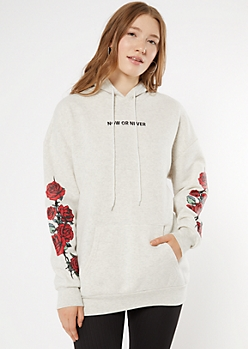 Heather Gray Now Or Never Embroidered Hoodie
