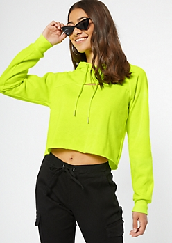 Neon Yellow Cutout Raw Cut Hoodie