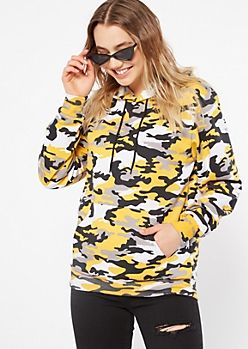 Yellow Camo Print Fleece Hoodie