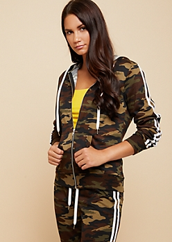 Camo Print Side Striped Pattern Zip Up Hoodie