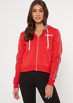 Red Checkered Print Vibes Embroidered Hoodie