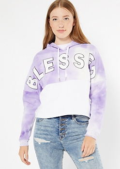 Purple Tie Dye Colorblock Blessed Graphic Hoodie