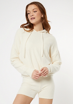 Ivory Cozy Teddy Cropped Hoodie