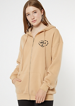 Tan Embroidered Over It Oversized Zip Up Hoodie