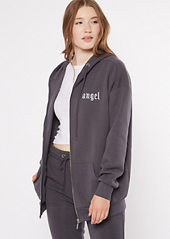 Gray Embroidered Angel Zip Up Hoodie