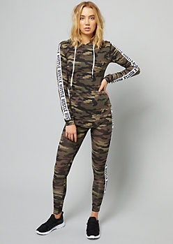 Camo Print Side Striped Hustle Pullover Hoodie