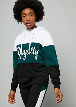 Green Royalty Colorblock Oversized Hoodie
