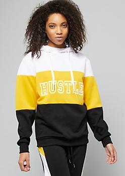 Mustard Hustle Colorblock Fleece Hoodie