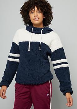Navy Varsity Striped Sherpa Hoodie