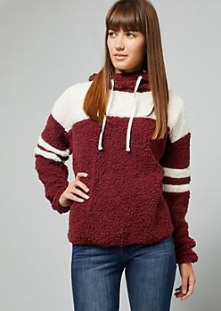 Burgundy Varsity Striped Sherpa Hoodie