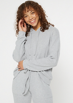 Heather Gray Hacci Knit Slouchy Hoodie