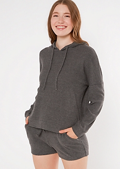 Charcoal Gray Hacci Knit Slouchy Hoodie